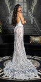 Dlhé odvážne šaty s priehľadnou čipkou Biela