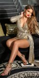 Zlaté šaty so šerpou Zlatá