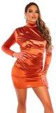Zamatové rolákové šaty Bronzová