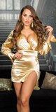 Saténové mini šaty s voľnými rukávmi Zlatá