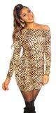 Leopardie pletené šaty Béžová