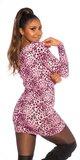 Leopardie pletené šaty Ružová