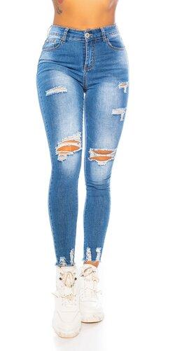 Vysoké modré džínsy s rozparkami
