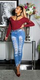 Rozpárané džínsy Modrá