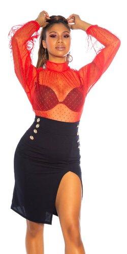 Vysoká ceruzková sukňa s dekoratívnymi gombíkmi