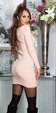 Pletené šaty s kamienkami na stehnách Bledá ružová
