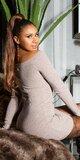 KouCla pletené šaty Béžová