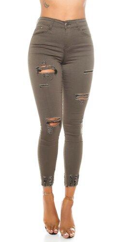 Khaki roztrhané džínsy