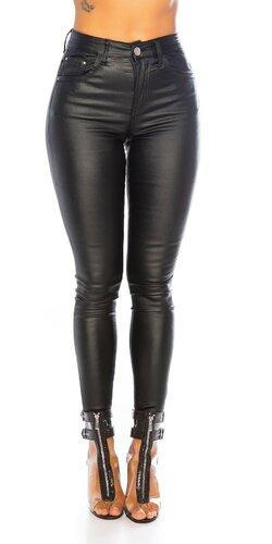 Bavlnené čierne nohavice koženého vzhľadu