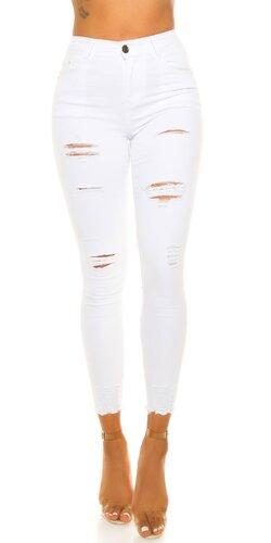 Biele úzke roztrhané džínsy