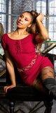 Pletené šaty s krátkymi rukávmi a šnurovaním Bordová