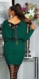 Pletené vrúbkované šaty so stuhou na zadnej strane Zelená