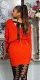 Pletené vrúbkované šaty so stuhou na zadnej strane Oranžová