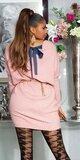 Pletené vrúbkované šaty so stuhou na zadnej strane Bledá ružová