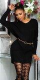 Pletené vrúbkované šaty so stuhou na zadnej strane Čierna