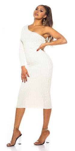 Pletené maxi šaty s jedným rukávom