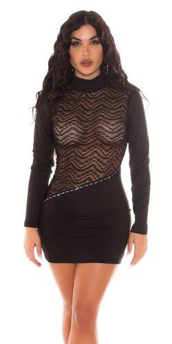 Čipkované čierne šaty s priehľadným dekoltom