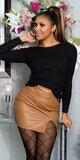 Dámsky sveter s viazaním na chrbte Čierna