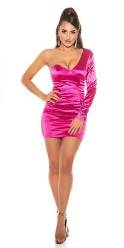 Jednorukávové šaty saténový look