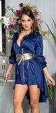 Hodvábne blúzkové šaty Tmavomodrá