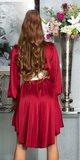 Hodvábne blúzkové šaty Bordová
