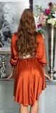 Hodvábne blúzkové šaty Bronzová