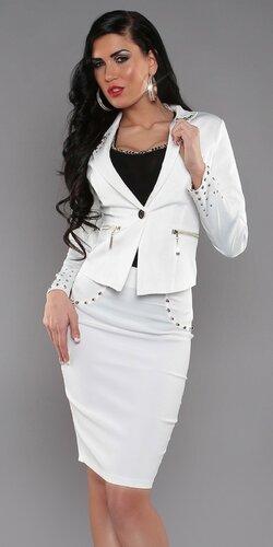 Vybíjané sako pre dámy Biela