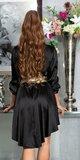 Hodvábne blúzkové šaty Čierna