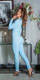 Dámsky bavlnený overal jednofarebný Modrá
