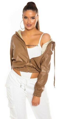 Krátka bunda z umelej kože