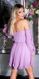 Dámske babydoll šaty s odhalenými ramenami Lilac