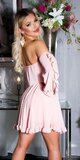 Dámske babydoll šaty s odhalenými ramenami Bledá ružová