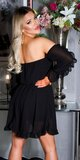 Dámske babydoll šaty s odhalenými ramenami Čierna