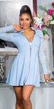 Áčkové šaty s čipkovanými rukávmi Modrá