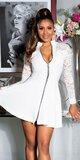Áčkové šaty s čipkovanými rukávmi Biela