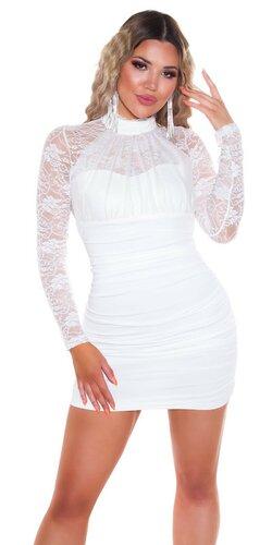 Mini šaty s dlhými rukávmi zdobenými čipkou