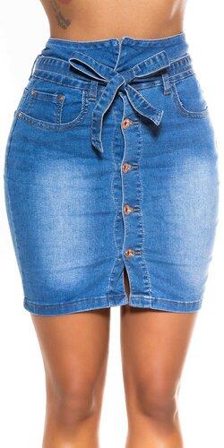 Modrá džínsová sukňa so zapínaním na gombíky