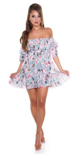 Kvetinové off shoulder šaty s volánmi