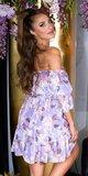 Kvetinové off shoulder šaty s volánmi Lilac