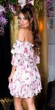 Kvetinové off shoulder šaty s volánmi Biela