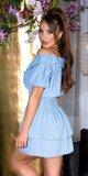 FEMININE šaty s úzkym pásom na leto Modrá