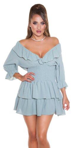 Volánové šaty s elastickým pásom