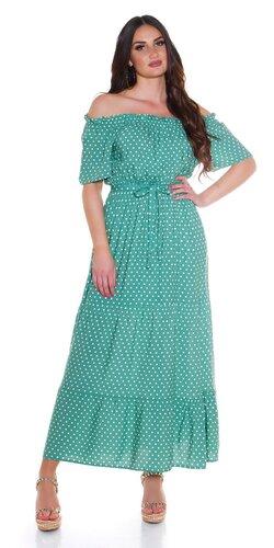 Off shoulder maxi šaty s bodkami
