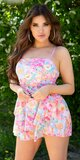 Romantický letný overal s kvetmi Ružová