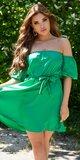 Romantické off shoulder šaty s puff rukávmi Zelená