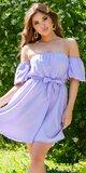 Romantické off shoulder šaty s puff rukávmi Lilac