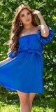 Romantické off shoulder šaty s puff rukávmi Kráľovská modrá