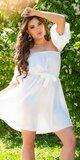 Romantické off shoulder šaty s puff rukávmi Biela