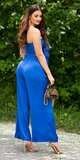 Letný set nohavice + crop top Kráľovská modrá
