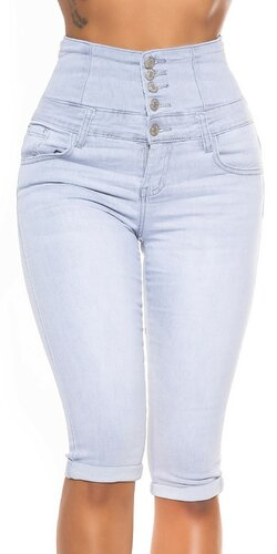 Šedé džínsové capri s vysokým pásom